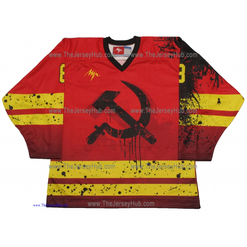 bce4a1c6b71 Alex Ovechkin Born in the USSR Red Heat Hammer and Sickle Russian Hockey  Jersey Dark