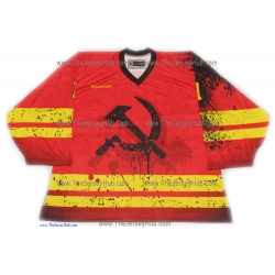 Red Heat Hammer and Sickle #1 Goalie Russian Hockey Jersey Dark