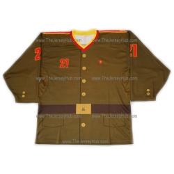 USSR Red Army Soviet Military Cadets #21 Russian Hockey Jersey Dark