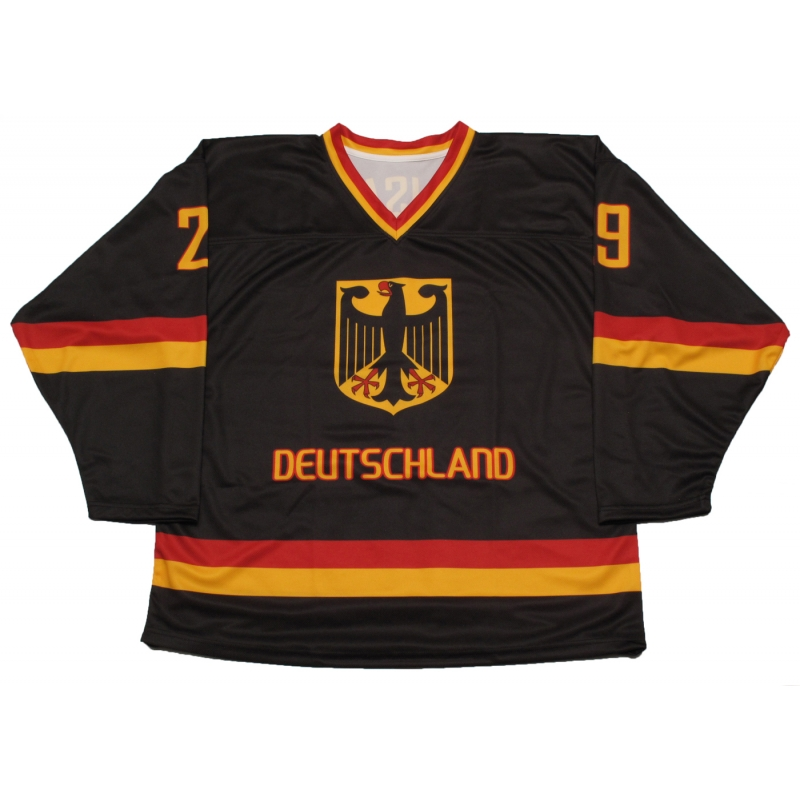finest selection 0e621 6cb40 Leon Draisaitl Team Germany Hockey Jersey Dark