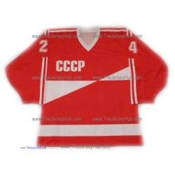 1987 Canada Cup Team USSR Soviet Russian Hockey Jersey Makarov Dark